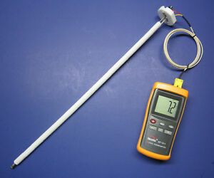 Very High Temperature K type Thermometer Ceramic Probe Forge Crucible Kiln Cr 8