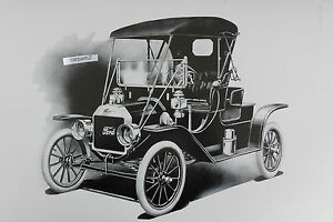 1910 Ford Model T Roadster 12 X 18 Black White Picture