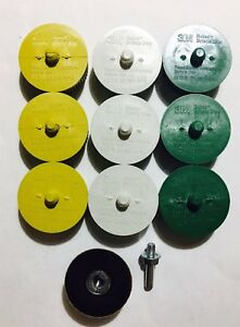 3m Scotch brite Roloc 50 80 And 120 Grit Bristle Disc Green yellow white qty 10