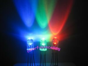 1000pcs 5mm 4 pin Tri color Rgb Water Clear Common Cathode Red Green Blue Led