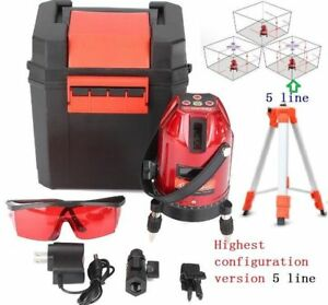 Auto 360 Self leveling Best Ver 5line Rotary Laser Level Measure Kit Tripod A