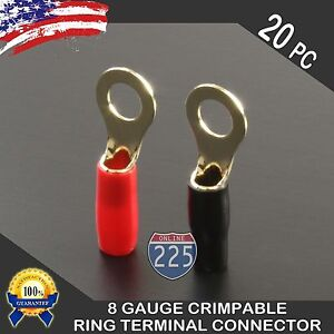 8ga Gauge Silver Ring Terminal 20pc Wire Crimp Cable Red Black Boots 5 16 Stud