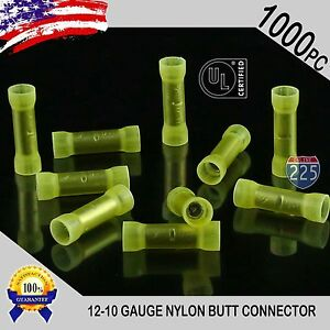 1000 Pack 12 10 Gauge Wire Butt Connectors Yellow Nylon 12 10 Awg Crimp Terminal
