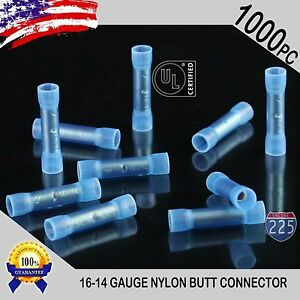 1000 Pack 16 14 Gauge Wire Butt Connectors Blue Nylon 16 14 Awg Crimp Terminals
