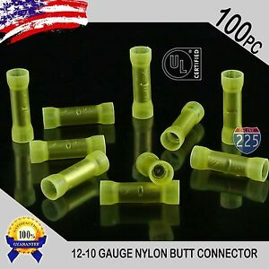 100 Pack 12 10 Gauge Wire Butt Connectors Yellow Nylon Awg Crimp Terminals Us Ul
