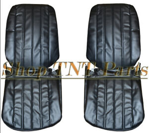 1966 Chevelle Seat Covers Front Bucket Upholstery Skins Black Pair 66 Chevrolet