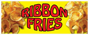 Ribbon Fries Banner Potato Deep Fried Concession Stand Sign 36x96
