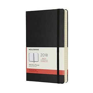 Moleskine 12 Month Daily Planner Large Black Hard Cover 5 X 8 25