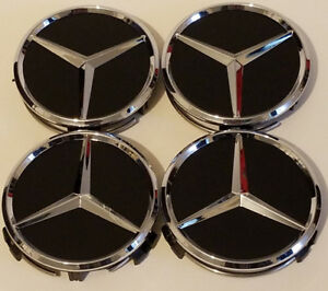 4 New Fit Mercedes Benz 75mm Matte Black Wheel Rim Hub Center Caps Wc4pc500