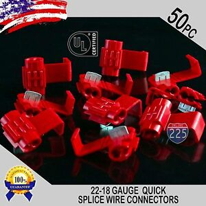 50 Pack 22 18 Gauge Red Quick Splice Tap Wire Connectors Install Terminals Ul