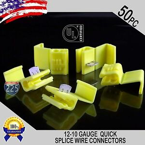 50 Pack 12 10 Gauge Yellow Quick Splice Tap Wire Connectors Terminals Ul Taiwan