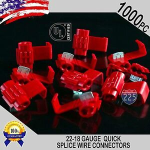 1000 Pack 22 18 Gauge Red Quick Splice Tap Wire Connectors Install Terminals Ul