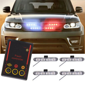 16 Led Car Emergency Strobe Light Bar Police Warning Flash Visor Dash Lighting