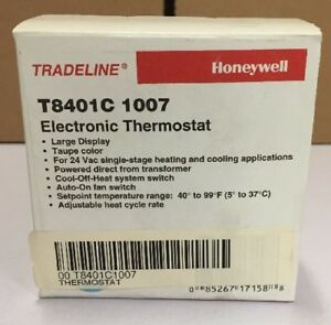 Honeywell Electronic Thermostat 1h 1c Taupe T8401c1007