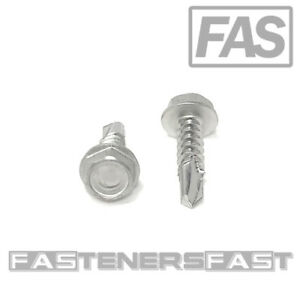 100 10 X 3 4 Stainless Steel Hex Washer Head Self Drilling Tapping Tek Screws
