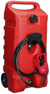 Rolling Wheel Gas Can Portable Fuel Fluid Transfer Pump 14 gallon Tank 10ft Hose