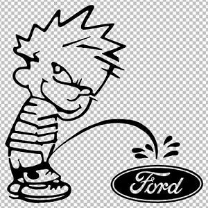 Calvin Piss Pee On Ford Funny Vinyl Decal Sticker