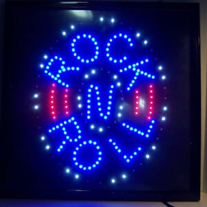 Fantastic 19 1 4 Square Led Rock N Roll Light Sign W Motion Blinking Lights