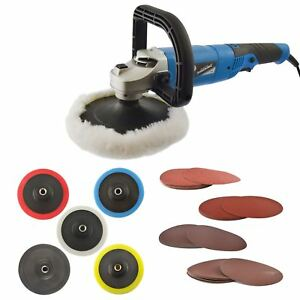 180mm Polisher 1200w Electric Variable Speed Rotary Car Buffer Sander Kit