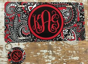 Paisley Personalized Monogrammed License Plate And Keychain Set Car Tag Initials