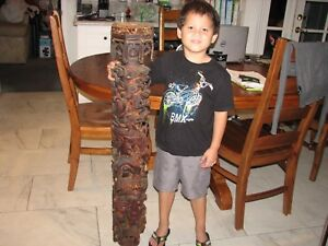 Large 44 In Tall Antique Asian Hand Carved Wood Dragon