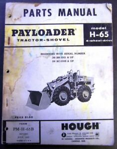 International Harvester Hough Payloader Tractor Shovel H 65 Parts Manual