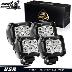 4x 4inch 18w Led Work Lights Pods Cube Spot Beam Offroad Atv Ute Jeep Truck 4wd
