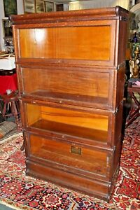 Antique Oak Globe Wernicke 4 Section Stacking Barrister Bookcase
