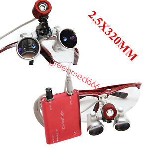 New Red 2 5x 320mm Dental Surgical Binocular Loupes Optical Lens led Head Light