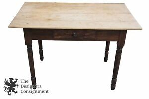 Rustic Primitive Writing Desk Side End Table One Drawer Distressed Country Vtg