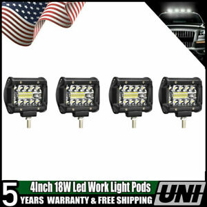 Flood 4 Dually Flush Mount 18w Led Pod Lights For Truck Jeep Off Road Atv