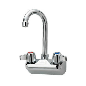 Krowne Metal 10 400l Commercial Splash Mount Faucet 3 1 2 Gooseneck Spout