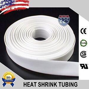 50 Ft 50 Feet White 1 4 6mm Polyolefin 2 1 Heat Shrink Tubing Tube Cable Us Ul