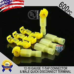 600 T taps Male Disconnect Wire Connectors Yellow 12 10 Gauge Terminals Ul