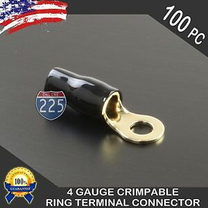 100 Pack 4 Gauge Gold Ring Terminal Awg Wire Crimp Cable Black Boots 5 16 Stud
