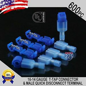 600 T taps Male Disconnect Wire Connectors Blue 16 14 Awg Gauge Terminals Ul