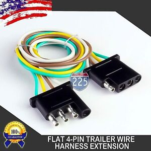 2pc 18ft Trailer Light Wiring Harness Extension 4 Pin 18 Awg Flat Wire Connector