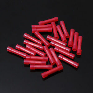 50 Pcs Pack 8 Awg Ga Seamless Red Nylon Butt Connectors Wire Crimp Terminals Pc
