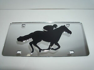 Jockey Horse Racing Polo License Plate Colors Silver black Brand New