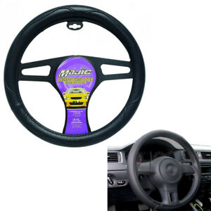 Black Steering Wheel Cover Slip On Protector Hand Pad Buffer Cushion Leather 15