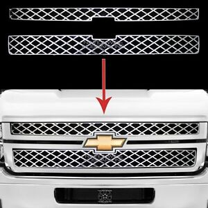 2011 2014 Silverado 2500 3500 Hd Chrome Grille Overlay Grill Cover Front Inserts