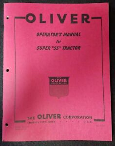 New Original Oliver Operator s Manual For Super 55 Tractor No Si 4 e5