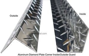2 Pcs 0 063 7ft Aluminum Diamond Plate Inside Corner Guard 3 x3 x84