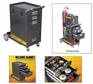Welding Cabinet Storage Arc Flux Plasma Push Rolling Cart Shelves Welder Mig Tig
