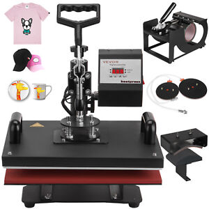 Digital Transfer Sublimation T shirt Mug Hat Plate Cap 5 In 1 Heat Press Machine