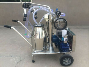 Stainless Steel Movable Dairy Cow Vacuum Milker Cow Milking Machine 220v