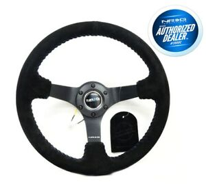 Nrg Deep Disc Steering Wheel 350mm Black Suede Blue Stitching Rst 036mb s bl