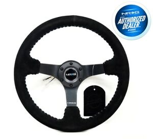 Nrg Deep Disc Steering Wheel 350mm Black Suede Silver Stitching Rst 036mb S Sl