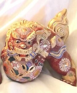 Large Foo Dog Glazed Gilt Terra Cotta Kutani Statue Japan 20thc Signed