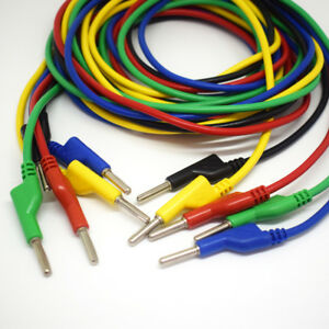 10sets 5 Colors 2m Silicone High Voltage Dual 4mm Banana Plug Test Leads Cable